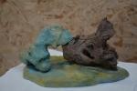 Keramiek+blauw met hout_