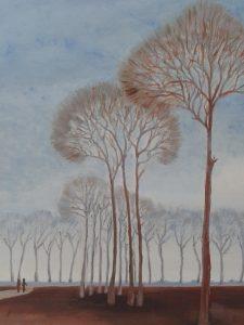 Schilderij Transparante bomen van Ans Hutjens